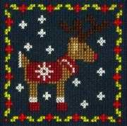 Reindeer - DMC Cross Stitch Card Design
