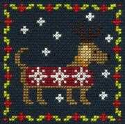 Festive Puppy - DMC Cross Stitch Card Design
