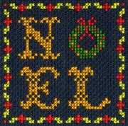 Noel Wreath - DMC Cross Stitch Card Design