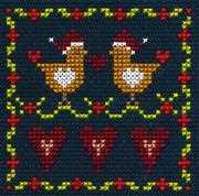 Love Birds - DMC Cross Stitch Card Design