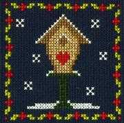 Bird House - DMC Cross Stitch Card Design