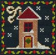 Snowy House - DMC Cross Stitch Card Design