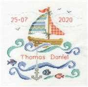 DMC Sail Boat Baby Birth Sampler Cross Stitch Kit