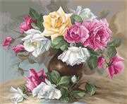 Luca-S Vase with Roses Petit Point Kit