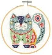 Floral Cat - DMC Cross Stitch Kit