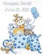 Janlynn Boy's Toys Sampler Birth Sampler Cross Stitch Kit