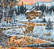 Luca-S Snowy Cabin Cross Stitch Kit