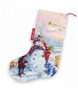 Luca-S Building a Snowman Stocking Cross Stitch Kit