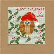 Bothy Threads Xmas Owl Christmas Card Making Christmas Cross Stitch Kit