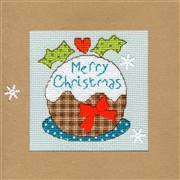 Bothy Threads Snowy Pudding Christmas Card Making Christmas Cross Stitch Kit