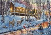 Dimensions Winter Cabin Christmas Cross Stitch Kit