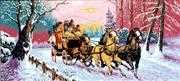 Diamant Three Horse Sleigh Tapestry Canvas