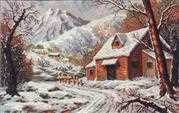 Diamant Winter Cabin Tapestry Canvas