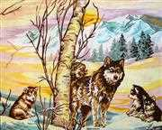 Gobelin-L Wolves in Winter Tapestry Canvas