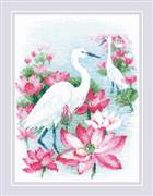RIOLIS Lotus Field - Herons Cross Stitch Kit