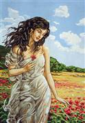 Gobelin-L Lady in the Poppy Field Tapestry Canvas