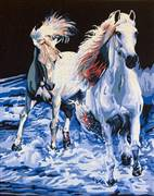Gobelin-L A Pair of White Horses Tapestry Canvas