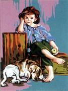 Gobelin-L Boy with a Dog Tapestry Canvas