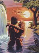 Diamant Couple by the Waterfall Tapestry Canvas