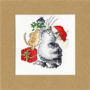Bothy Threads Under The Mistletoe Christmas Card Making Cross Stitch Kit