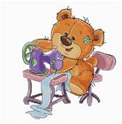 Luca-S Sewing Machine Teddy Bear Cross Stitch Kit