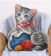 Panna Kitten and Wool Pillow Cross Stitch