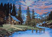 Gobelin-L Cabin by a Stream Tapestry Canvas