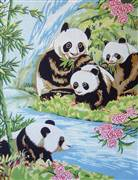 Gobelin-L Panda Family Tapestry Canvas