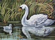 Gobelin-L Swan and Cygnets Tapestry Canvas