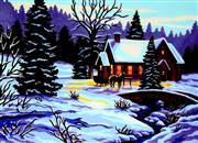 Gobelin-L Winter Cottage Tapestry Canvas