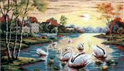 Diamant Sunset Swans Tapestry Canvas