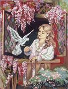 Diamant Dove at the Window Tapestry Canvas