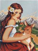 Diamant Girl and Fawn Tapestry Canvas