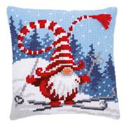Vervaco Ski-ing Gnome Cushion Christmas Cross Stitch Kit