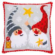 Vervaco Christmas Star Gnomes Cushion Cross Stitch Kit