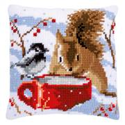 Vervaco Squirrel and Bird Cushion Christmas Cross Stitch Kit