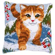 Vervaco Cat in the Snow Cushion Christmas Cross Stitch Kit