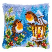 Vervaco Robins at Christmas Cushion Latch Hook Kit