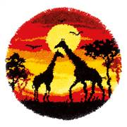 Vervaco Giraffes at Sunset Latch Hook Rug Latch Hook Kit