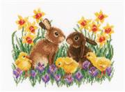 Vervaco Bunnies with Chicks Cross Stitch Kit