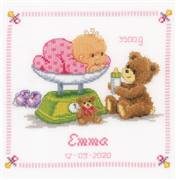 Vervaco Baby and Bear Sampler Birth Sampler Cross Stitch Kit