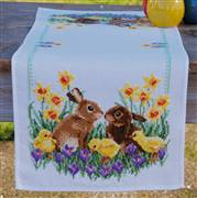 Vervaco Rabbits with Chicks Runner Cross Stitch Kit