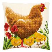 Vervaco Chicken with Chicks Cushion Cross Stitch Kit