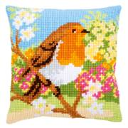 Vervaco Robin in the Garden Cushion Cross Stitch Kit