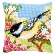 Vervaco Bluetit in the Garden Cushion Cross Stitch Kit