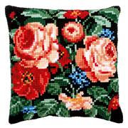 Vervaco Roses on Black Cushion Cross Stitch Kit