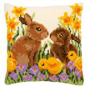 Vervaco Rabbit and Chicks Cushion Cross Stitch Kit