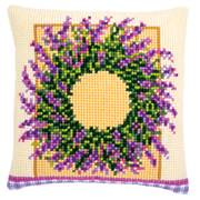 Vervaco Lavender Wreath Cushion Cross Stitch Kit