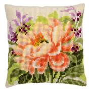 Vervaco Peony Cushion Cross Stitch Kit