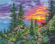 Dimensions Sunset Mountain Cross Stitch Kit